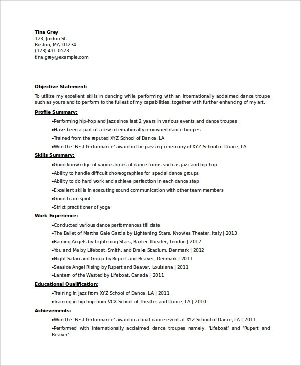 dancer resume template free word pdf documents premium templates dance for college Resume Dance Resume For College