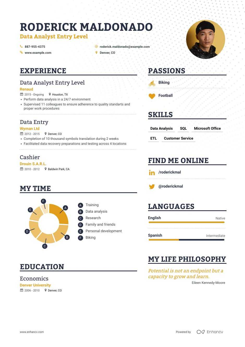 data analyst entry level resume examples inside to tips enhancv summary for architecture Resume Data Analyst Summary For Resume