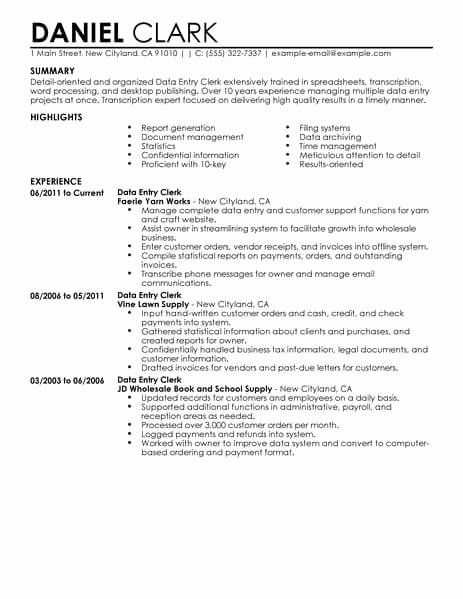data entry specialist resume unique best clerk example examples customer service for job Resume Resume For Data Entry Job