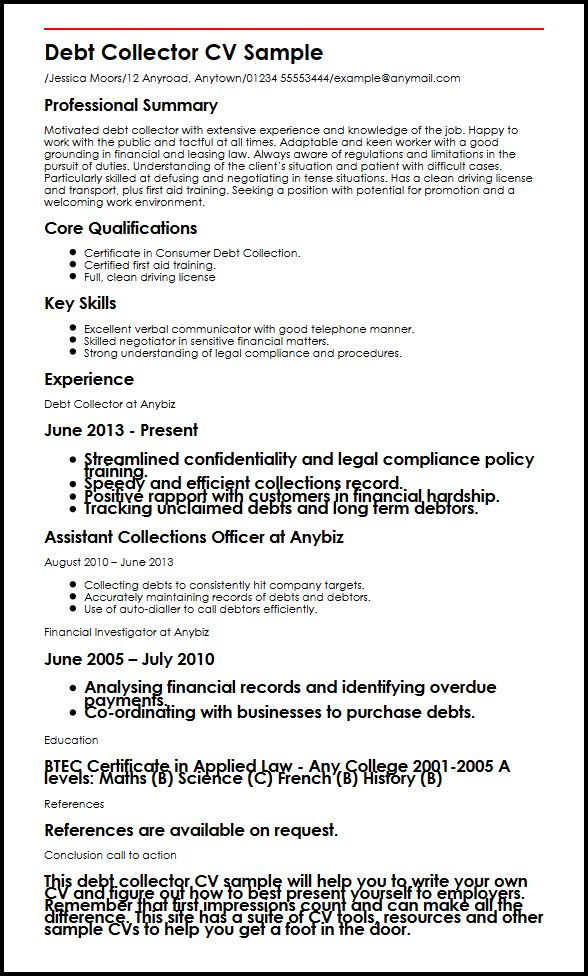 debt collector resume sample reverse chronological order format chronicle have someone Resume Have Someone Make Your Resume