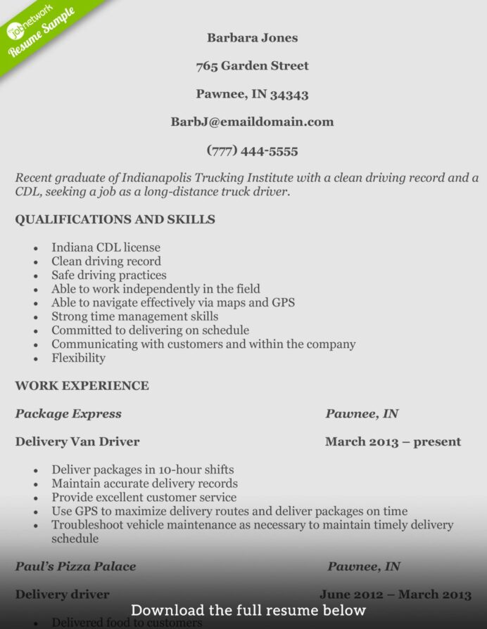 truck driver resume sample awesome bination samples job good examples package delivery Resume Package Delivery Driver Resume