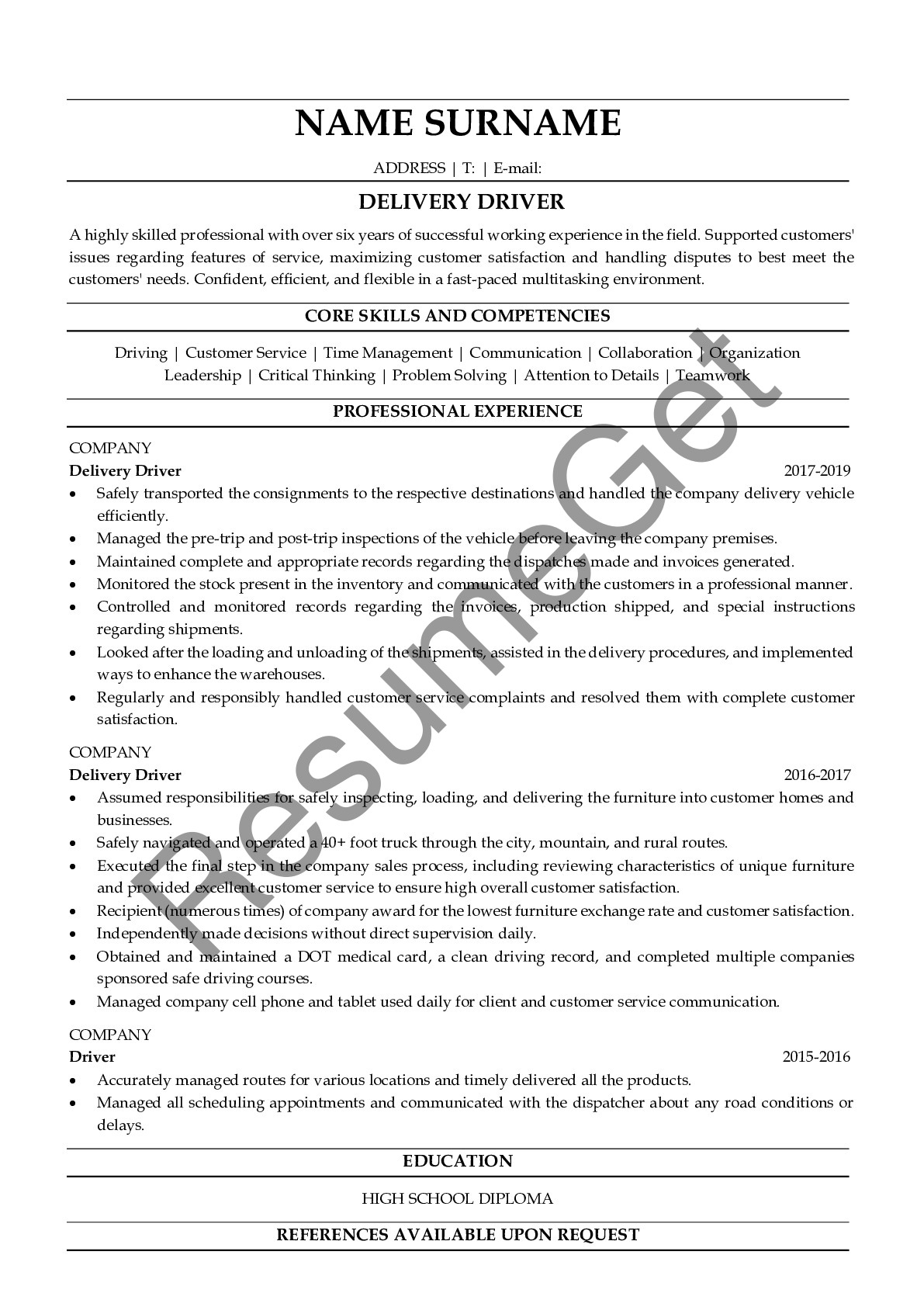 delivery driver resume examples resumeget skills for business accounting medical front Resume Delivery Driver Skills For Resume