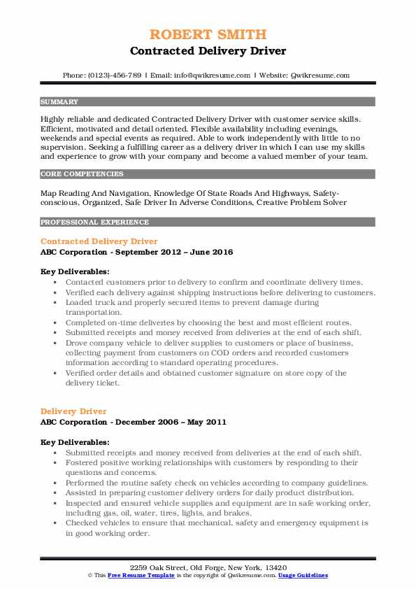 delivery driver resume samples qwikresume package pdf for refrigeration and Resume Package Delivery Driver Resume