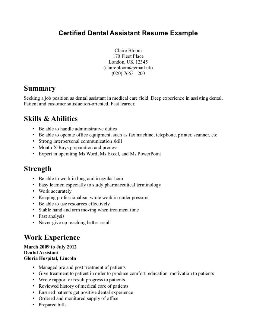 dental assistant resume example medical job examples template yoga format for educational Resume Dental Assistant Resume Template