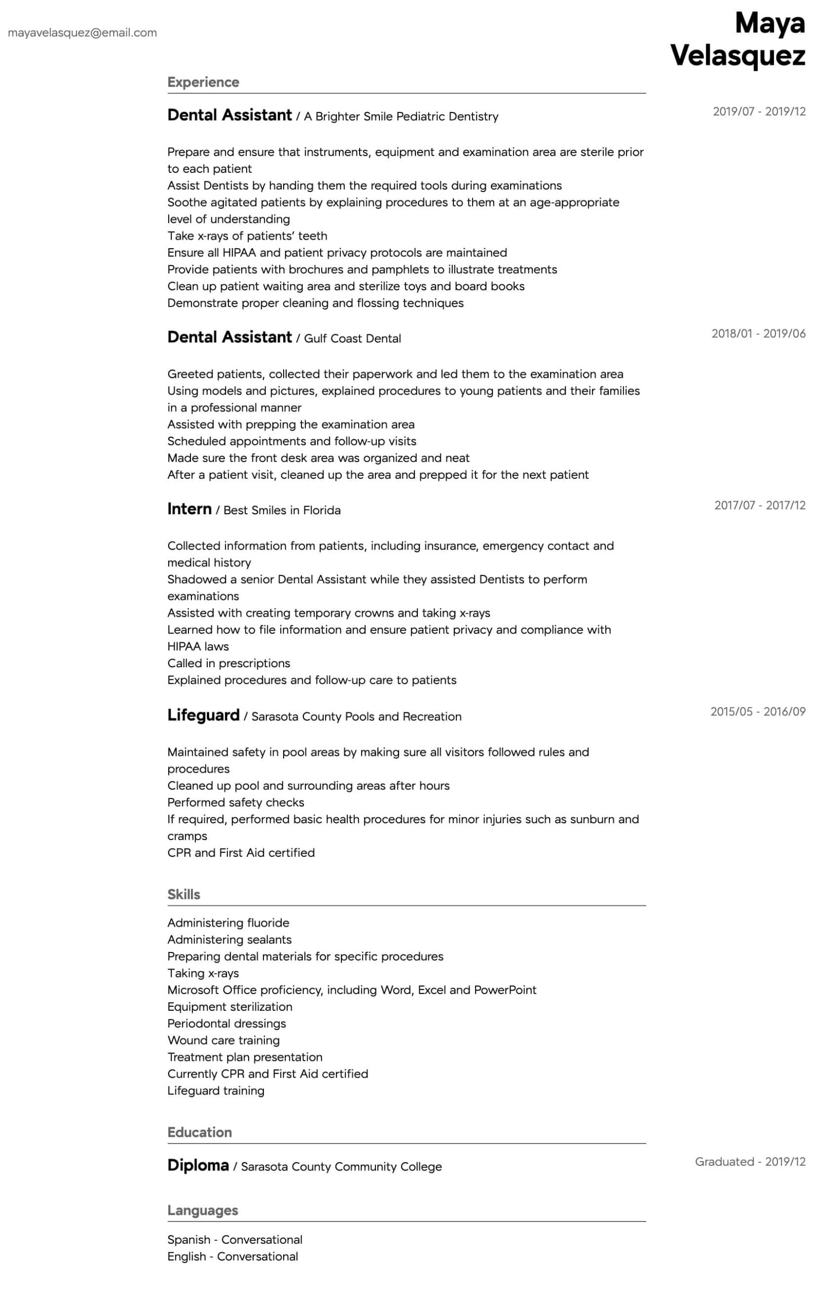 dental assistant resume samples all experience levels summary for intermediate network Resume Summary For Dental Assistant Resume