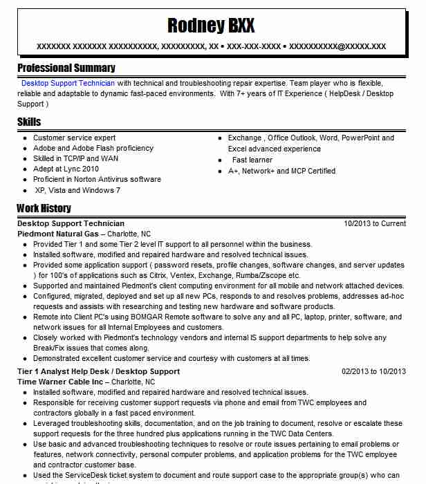 desktop support technician resume example livecareer it supports celta sample for Resume It Supports Technician Resume
