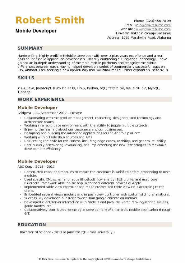 developer resume samples qwikresume templates free pdf general construction worker basic Resume Mobile Resume Templates Free