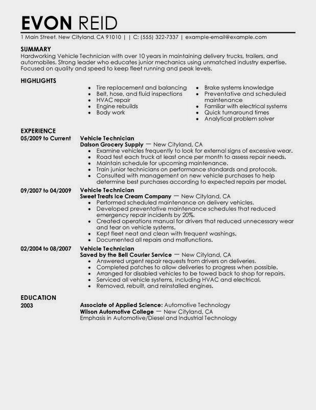 diesel mechanic resume example best examples for auto technician truck driver skills of Resume Resume For Auto Mechanic Technician