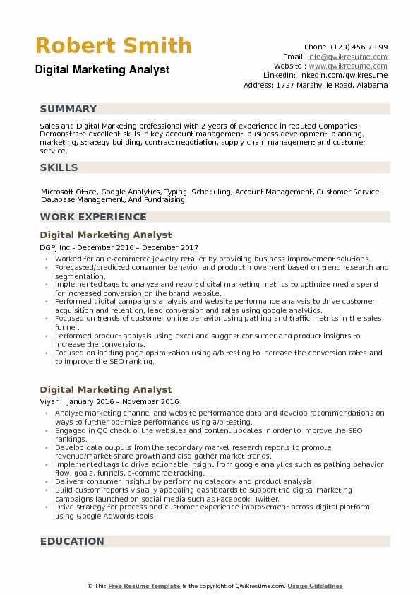 digital marketing analyst resume samples qwikresume entry level pdf noticeable templates Resume Entry Level Marketing Resume