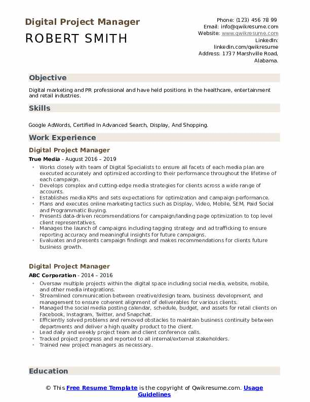 digital project manager resume samples qwikresume template pdf engineering writers typer Resume Project Manager Resume Template