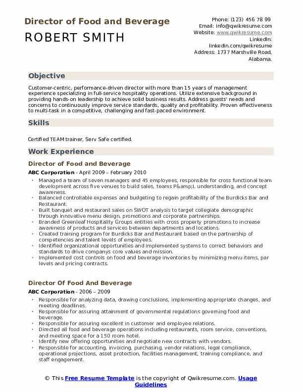 director of food and beverage resume samples qwikresume manager pdf objective for youth Resume Food And Beverage Manager Resume