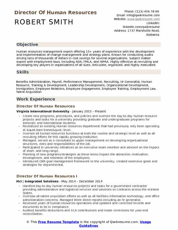 director of human resources resume samples qwikresume template pdf great quotes Resume Human Resources Resume Template