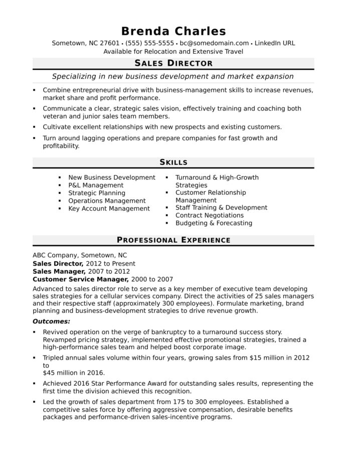 director resume sample monster professional template daycare objective action oriented Resume Sales Professional Resume Template