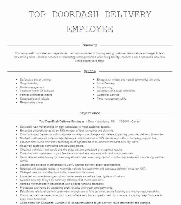 doordash driver resume example dash las vegas job description for little work experience Resume Doordash Job Description For Resume