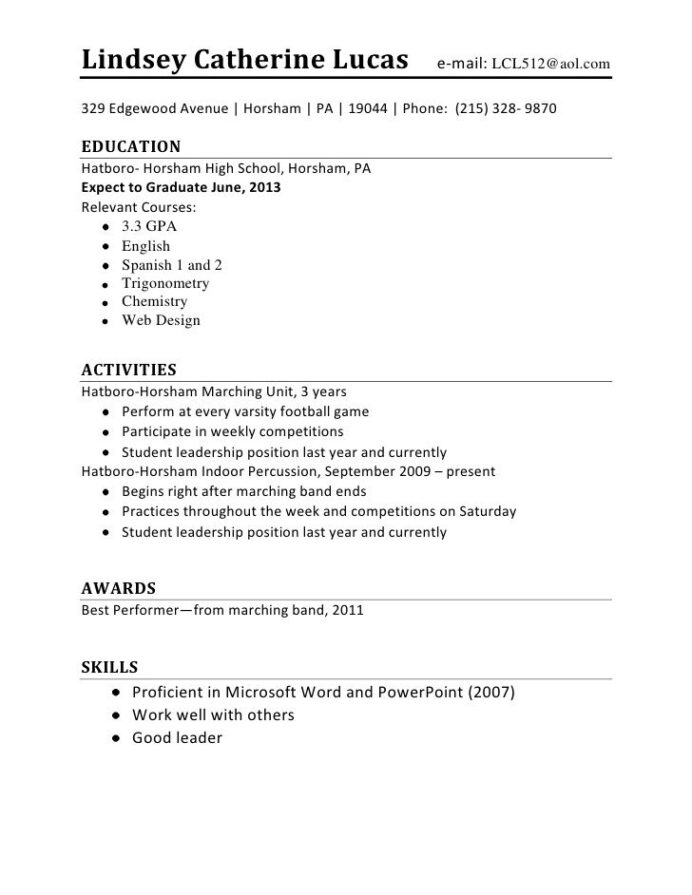 easy college student resume format for job application first time us resident outline Resume First Time Resume For College Student