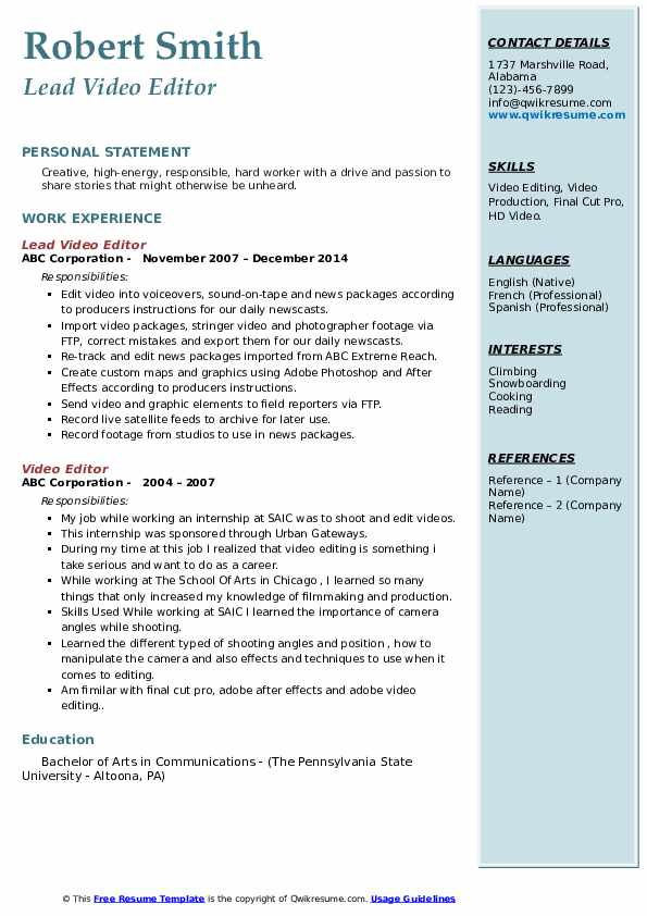 editor resume samples qwikresume examples pdf application support experience format Resume Video Editor Resume Examples