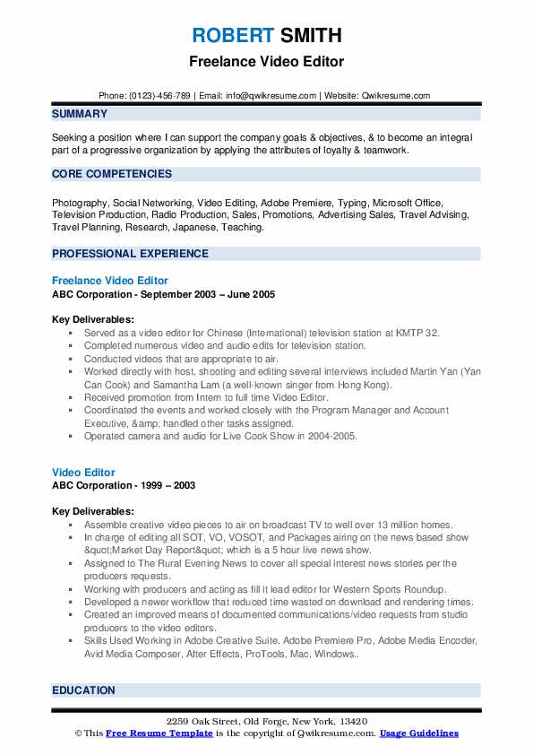 editor resume samples qwikresume examples pdf head waiter tennis for college application Resume Video Editor Resume Examples
