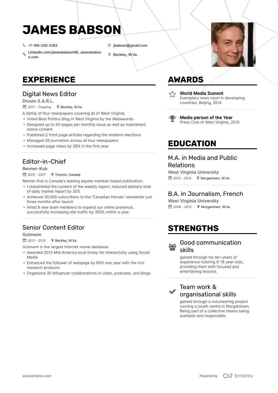 editor resume samples step by guide for enhancv resumes writers and editors restaurant Resume Resumes For Writers And Editors