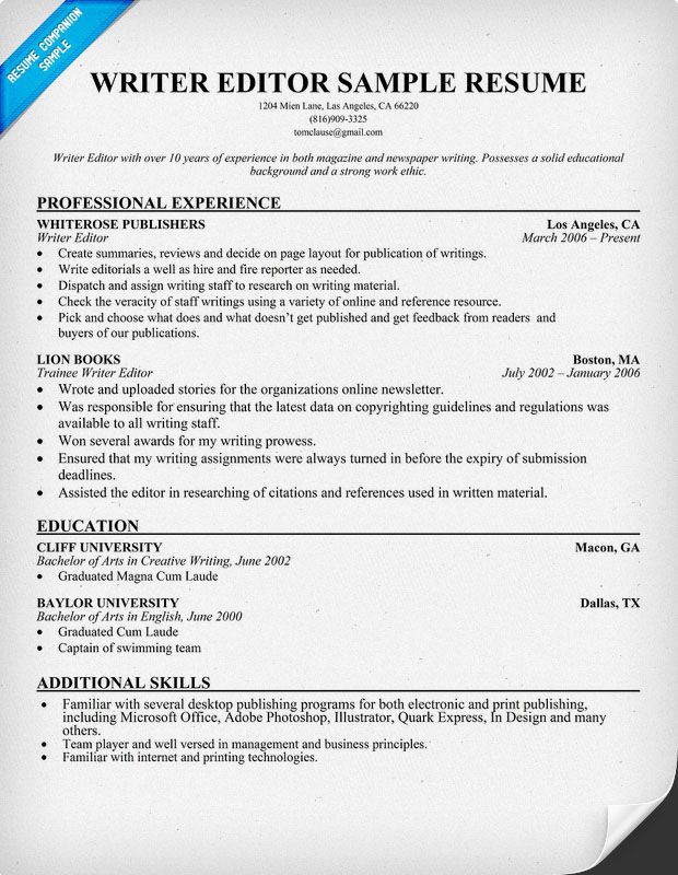 editor writer resume the guide to tailoring resumes for writers and editors workopolis Resume Resumes For Writers And Editors