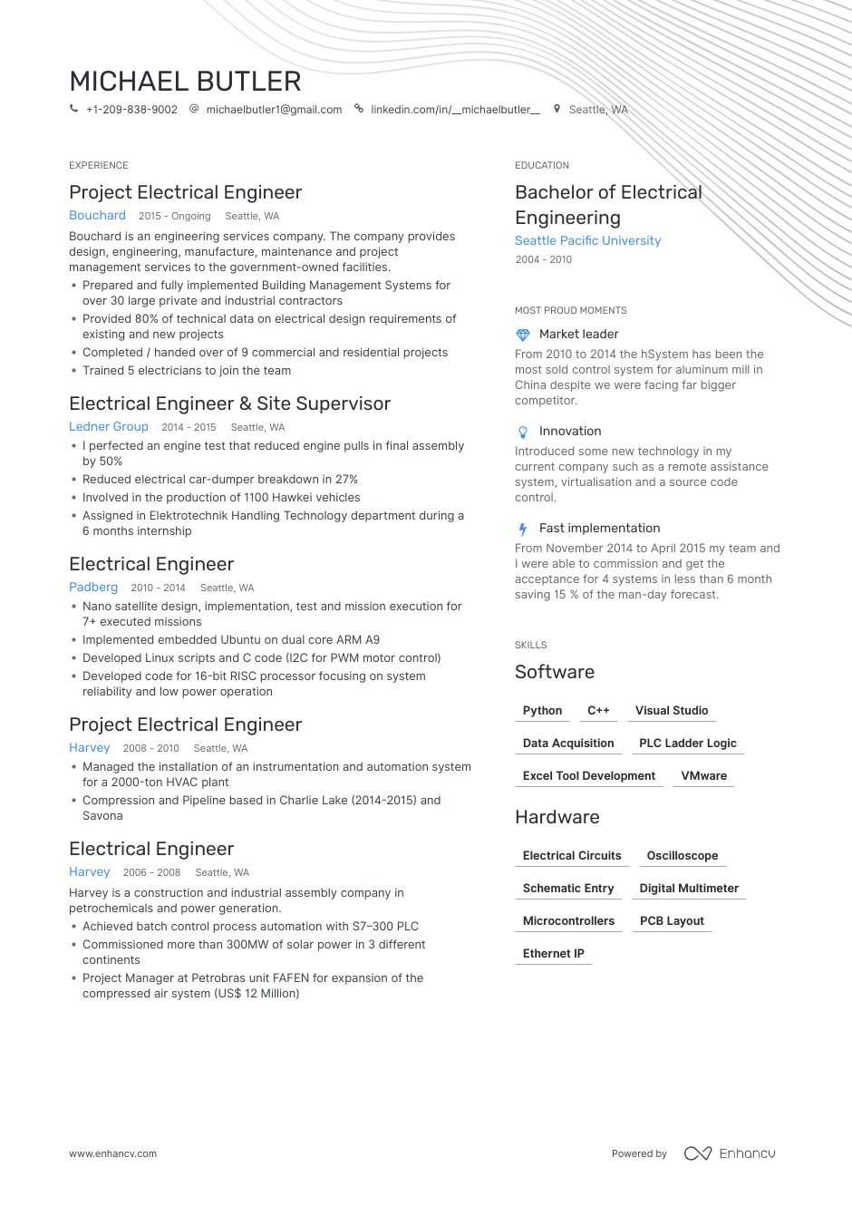 electrical engineer resume examples pro tips featured enhancv construction project Resume Construction Project Engineer Resume Objective