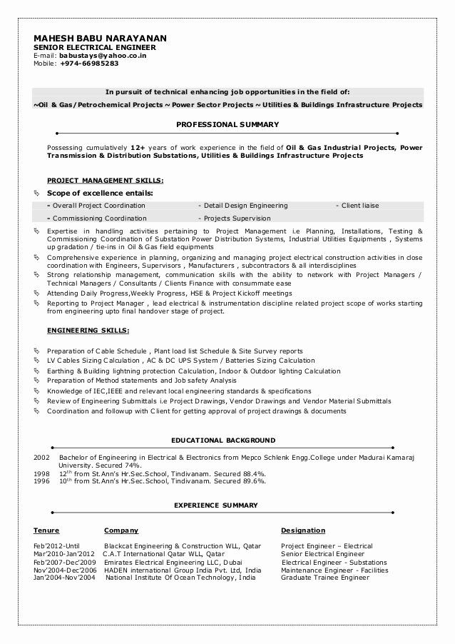 electrical engineer resume sample awesome mbn cv senior engineering student job samples Resume Construction Project Engineer Resume Objective