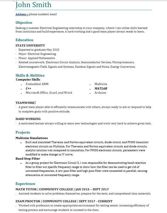 electrical engineering student resume for summer internship greater nyc area resumes Resume Engineering Internship Resume
