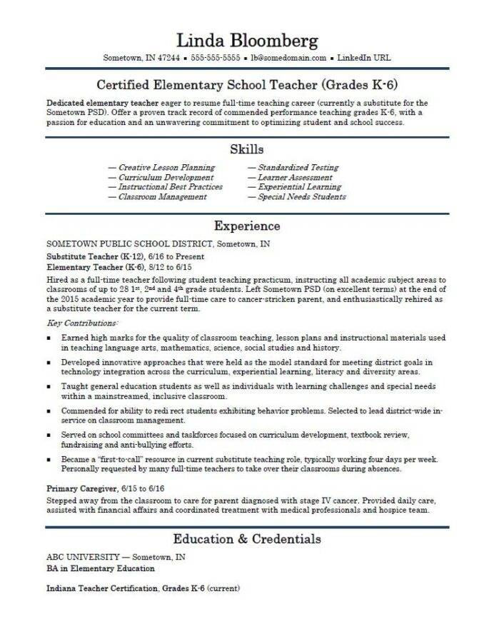 elementary school teacher resume template monster first time stunt sample master writer Resume First Time Teacher Resume