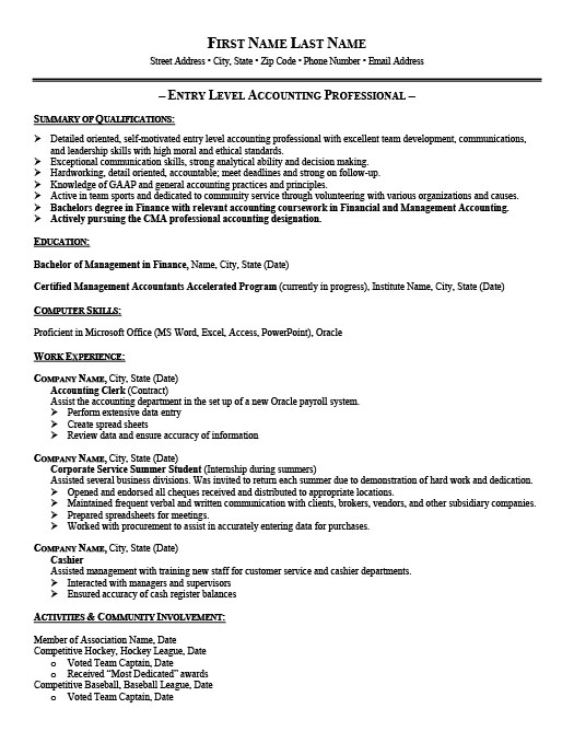 entry level accountant resume template premium samples example accounting resumes Resume Accounting Resumes Samples Entry Level
