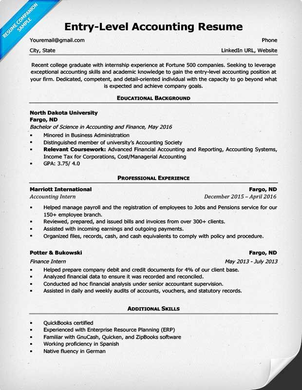 entry level accounting resume example accountant examples skills job description for Resume Accountant Job Description For Resume