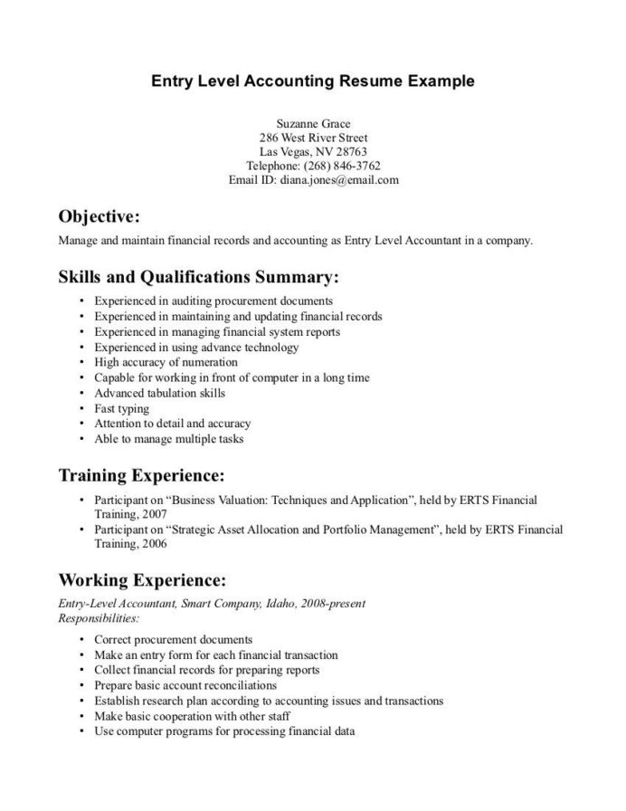 entry level accounting resume examples job template accountant resumes samples fresher Resume Accounting Resumes Samples Entry Level