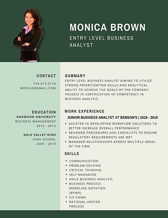 entry level business analyst resume samples templates pdf word junior resumes bot Resume Business Resume Examples 2020