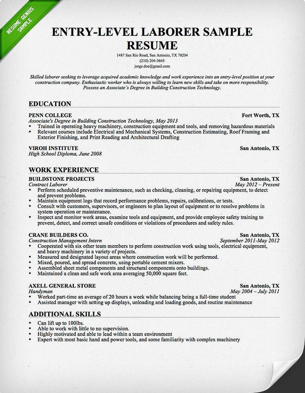entry level construction resume sample genius professional samples job cover letter for Resume Construction Worker Resume Sample