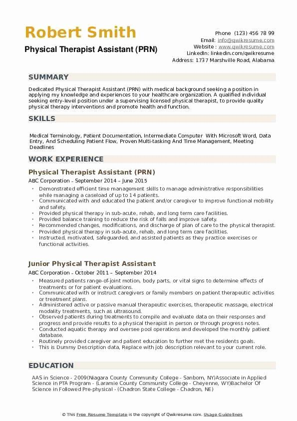 entry level physical therapist resume inspirational therapy assistant occupational Resume Physical Therapist Assistant Resume Examples