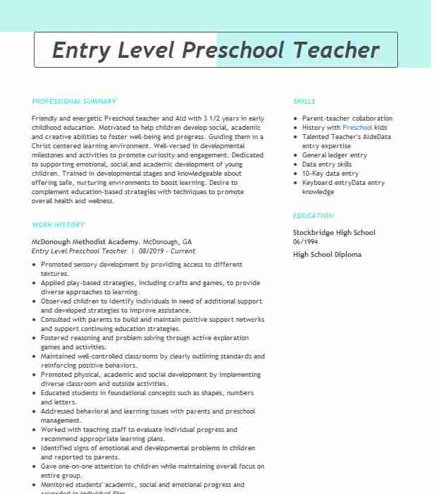 entry level preschool teacher resume example livecareer childhood template secretary job Resume Early Childhood Teacher Resume Template