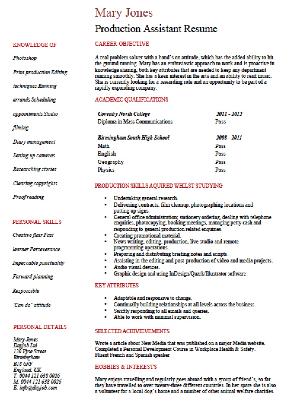entry level production assistant resume template templates sample for abroad bank Resume Production Assistant Resume Template