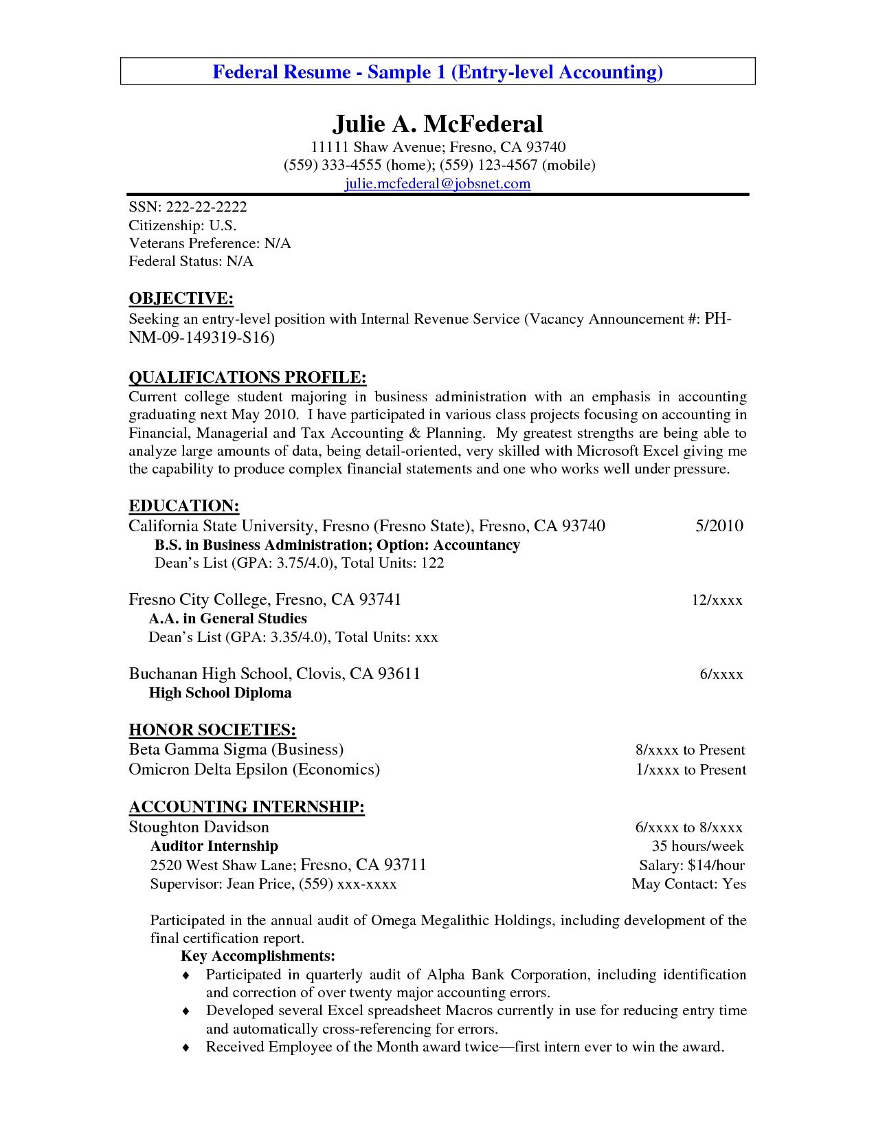 entry level resume example accounting sample gallery objective statement examples resumes Resume Accounting Resumes Samples Entry Level