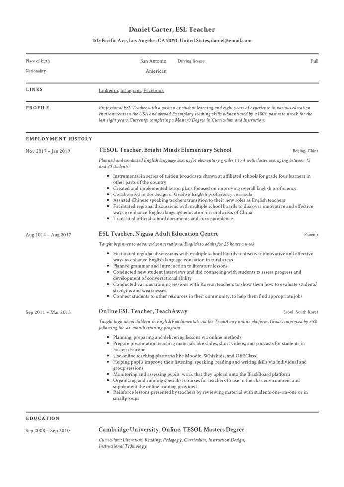 esl teacher resume examples writing guide first time example xfinity smart for recordings Resume First Time Teacher Resume