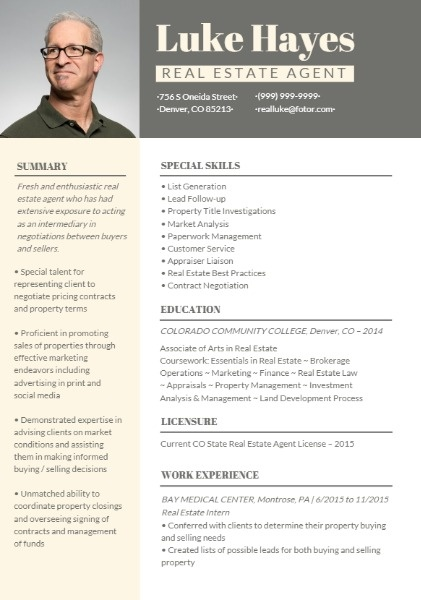 estate agent resume builder design outstanding personalized resumes for free fotor best Resume Best Real Estate Resumes