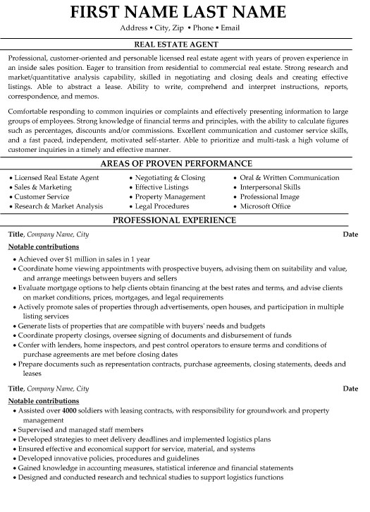 estate agent resume sample template new skills and certifications on objective for first Resume New Real Estate Agent Resume