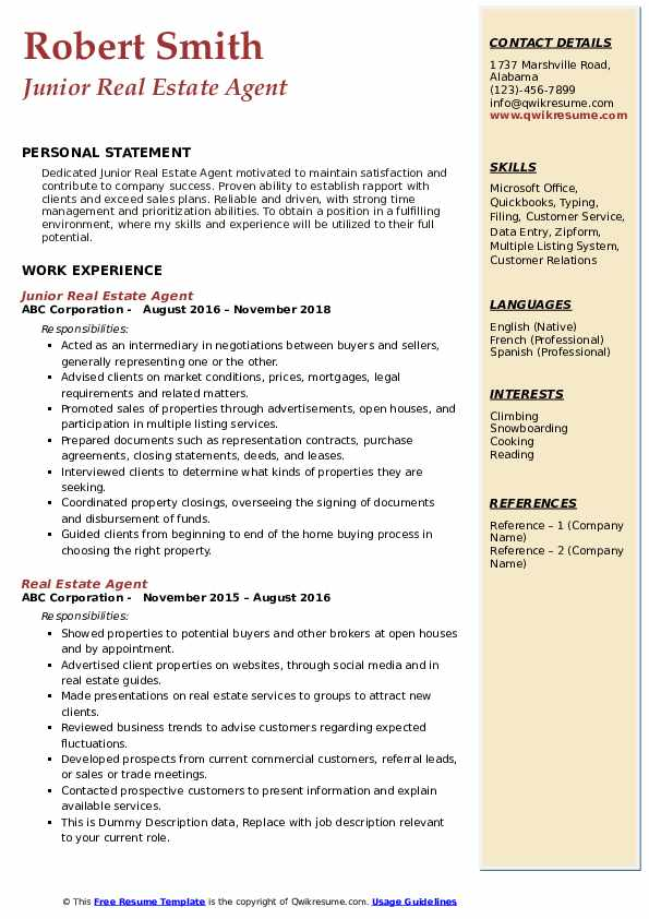 estate agent resume samples qwikresume realtor for clients pdf assistant manager examples Resume Realtor Resume For Clients