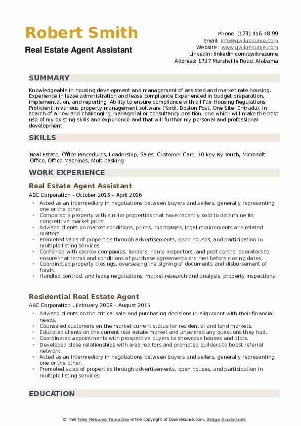 estate agent resume samples qwikresume realtor for clients pdf different types of skills Resume Realtor Resume For Clients