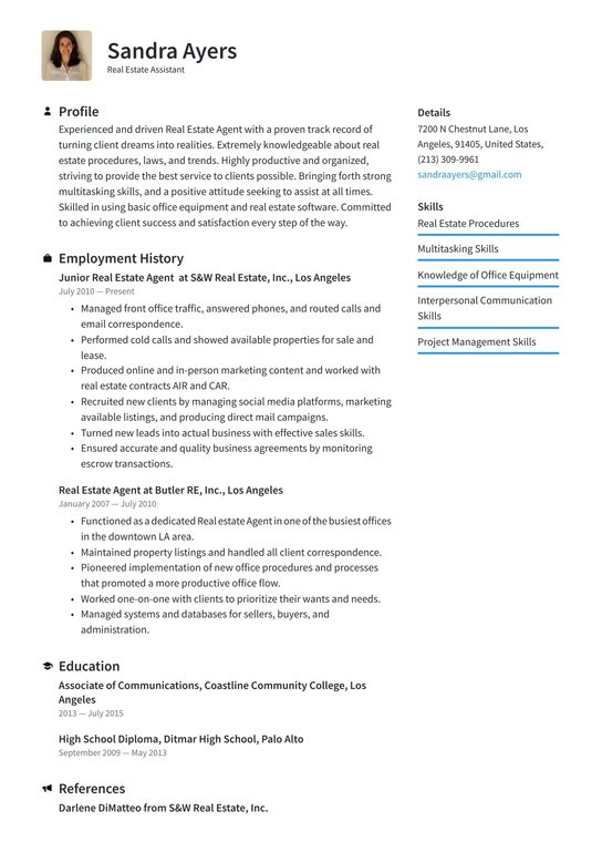 estate assistant resume examples writing tips free guide io realtor for clients entry Resume Realtor Resume For Clients