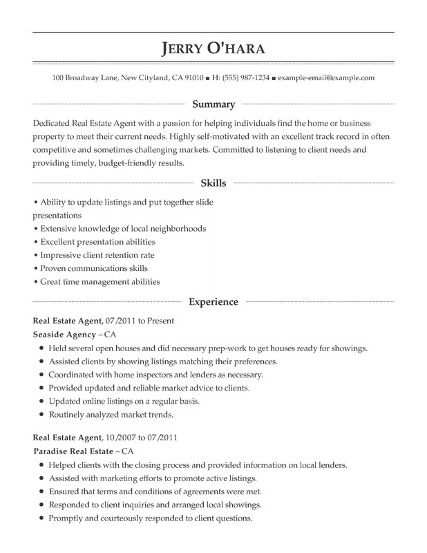 estate functional resume samples examples format templates help realtor for clients Resume Realtor Resume For Clients