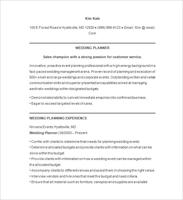 event manager resume sample planner examples wedding team lead reverse chronological Resume Event Planner Resume Examples