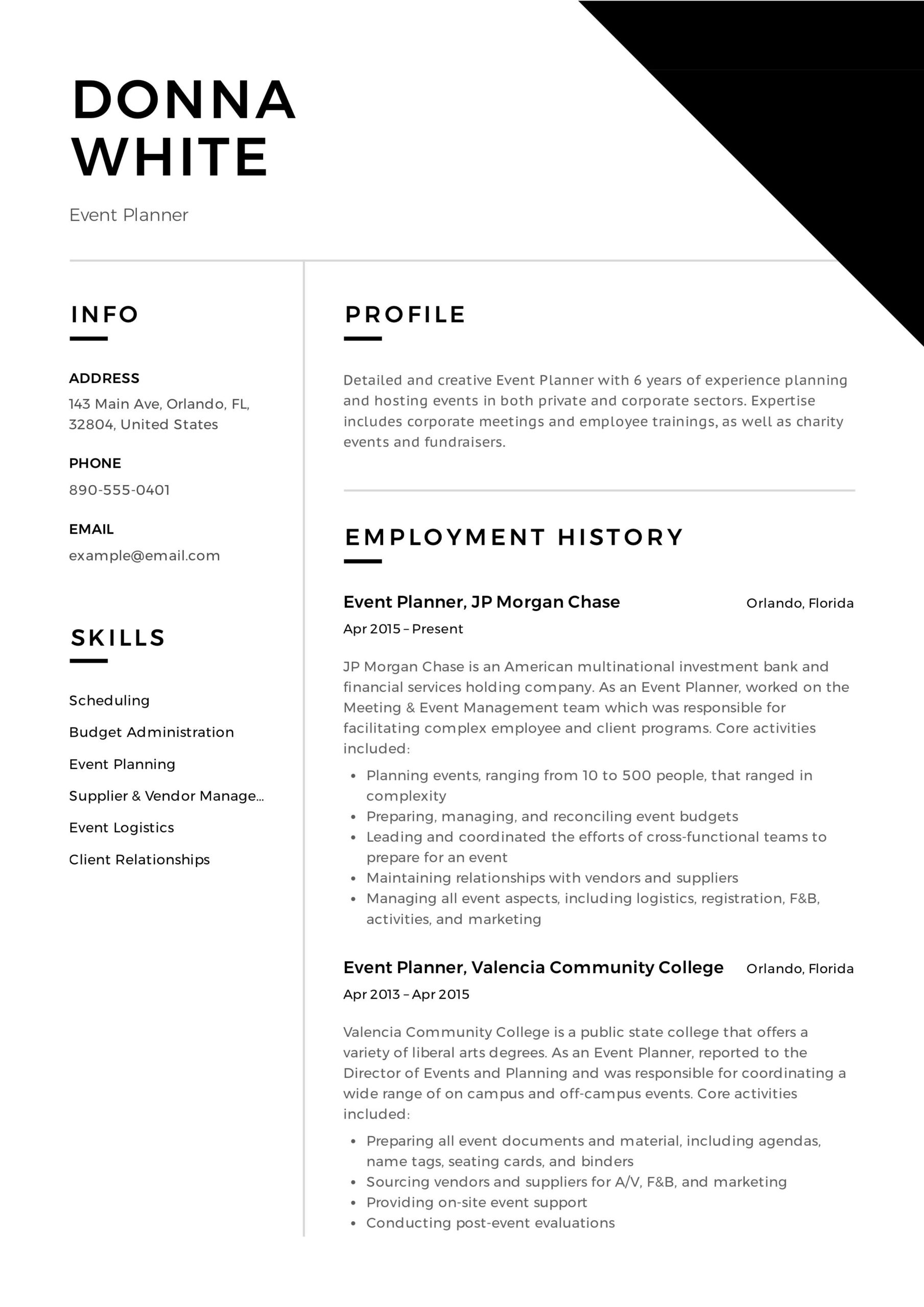 event planner resume professional examples party sample troubleshooting skills indesign Resume Party Planner Resume Sample