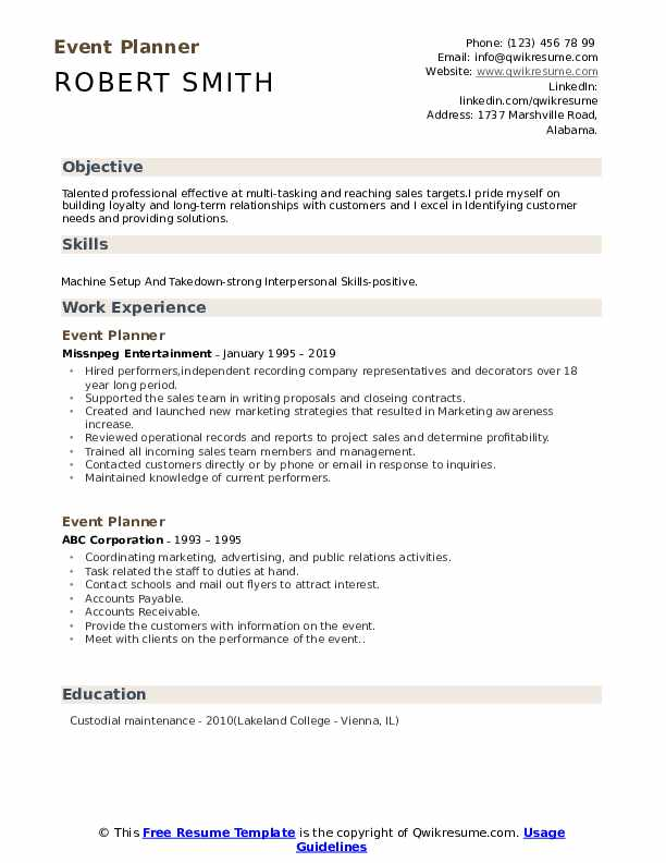 event planner resume samples qwikresume examples pdf plant operations manager job Resume Event Planner Resume Examples