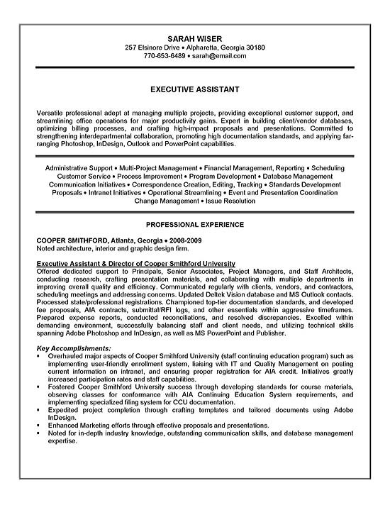 executive assistant resume example sample exad13a channel marketing objective for Resume Executive Assistant Resume