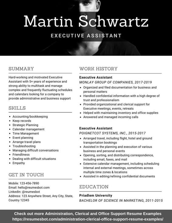 executive assistant resume samples and tips pdf resumes bot examples free example Resume Executive Assistant Resume Examples Free