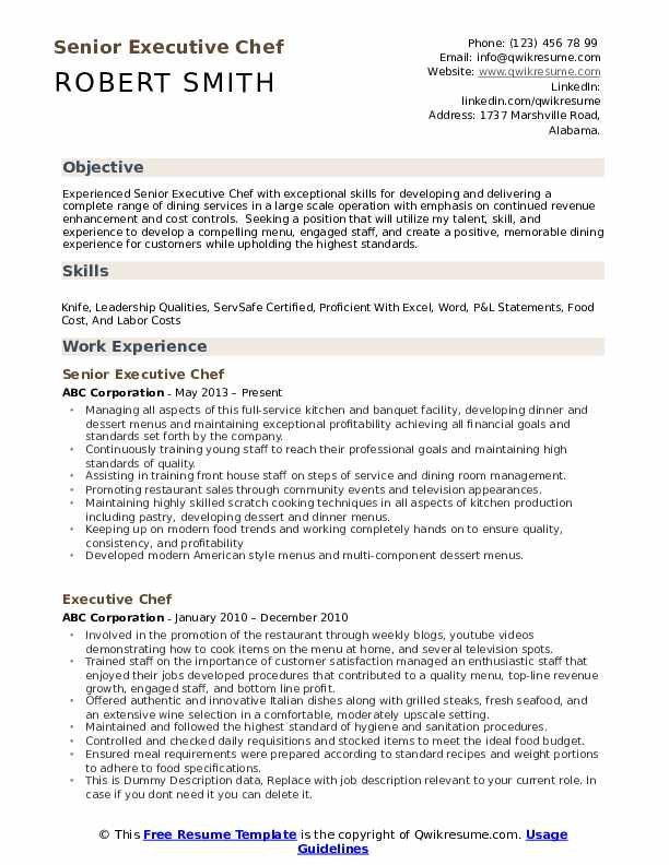 executive chef resume samples qwikresume template pdf completely free builder eye Resume Executive Chef Resume Template