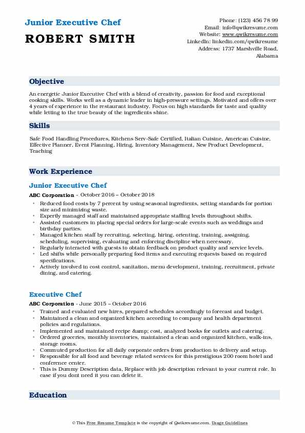 executive chef resume samples qwikresume template pdf software engineering manager Resume Executive Chef Resume Template